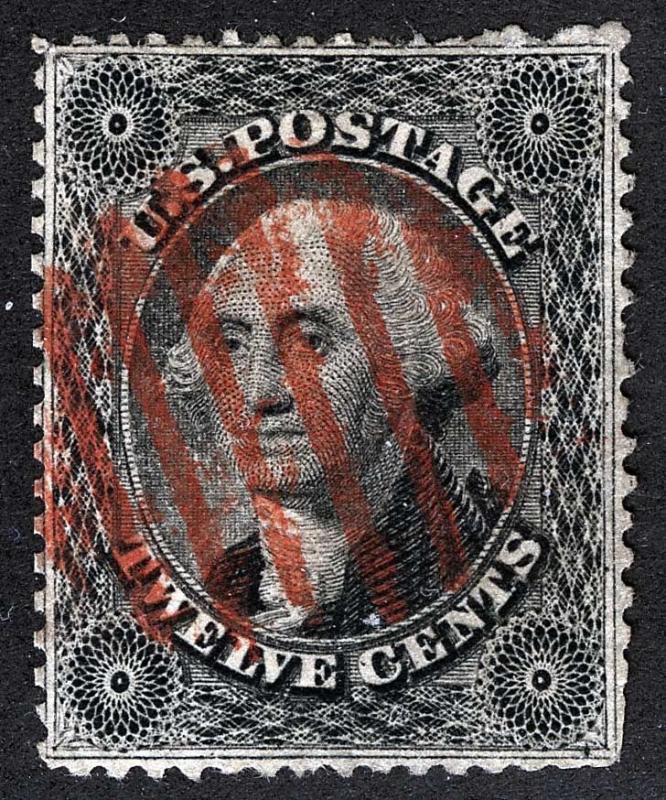 US Sc 36 Ty I 8Bar Red Open Grid Cancel 12¢ 1857 Issue