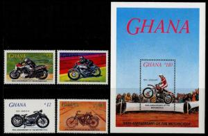 HERRICKSTAMP GHANA Sc.# 975-79 Motorcycles Set & S/S