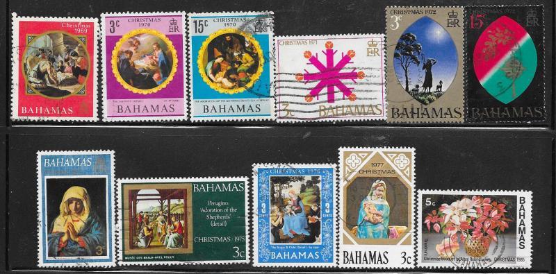 Bahamas #295-288 Various Christmas issues 1969-1985  (U) CV$3.05