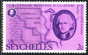 Seychelles. 1976. 376 from the series. Jefferson and the map. MNH.