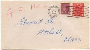 Canada to USA USC #252as & U65 1947 Airmail Cover ex Vancouver
