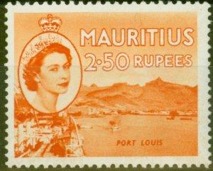 Mauritius 1954 2R50 Orange SG304 V.F Very Lightly Mtd Mint