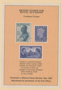 Great Britain - 1986 Souvenir Sheet British Stamps for Royal Occasions