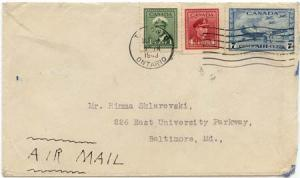 Canada to USA 12c Double Airmail Rate ex Toronto Oct 11,1943 Cover