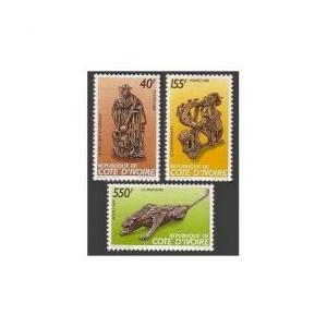 Ivory Coast 871-873,MNH.Michel 992-994. Sculptures by Christian Lattier.Panther,