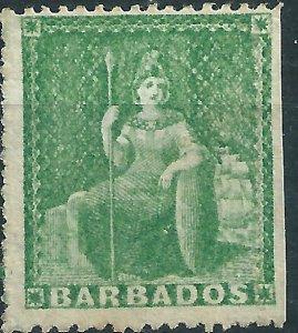 H392) Barbados. 1861. MNG. SG 17.1/2d Deep green. No Wmk. P15. cv£180+