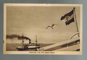 1938  Post Au Prince Haiti Postcard Cover to US SS Maatschappu Steamship at Sea