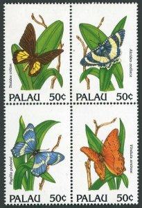 Palau 300 ad block,MNH.Michel 516-519. Butterflies 1992.