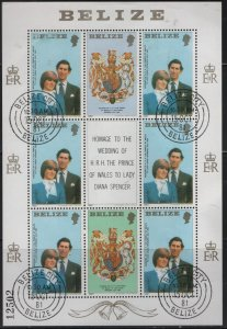 BELIZE  550, SHEET OF 6+3 LABELS, USED,1981 Royal weeding prince Charles