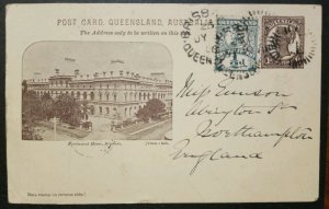 Queensland Pictoral PPC 1d + 1/2 d Parliament House Used