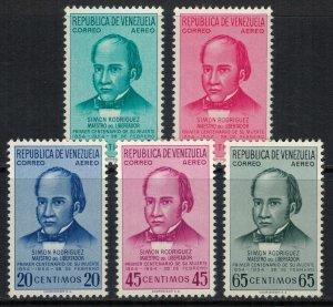 Venezuela #C576-80*  CV $9.50  Simon Rodriguez issue