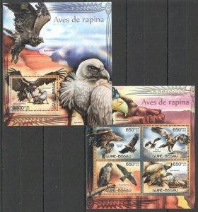BC448 2012 GUINEA-BISSAU FAUNA BIRDS OF PREY AVES DE RAPINA BL+KB MNH