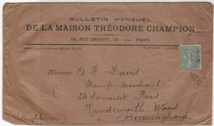 Theodore Champion Paris Monthly 1924 Philatelic Newsletter Stamps Cover Rf 31913