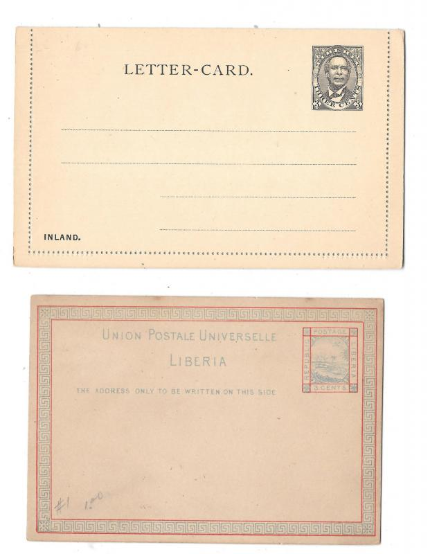 Liberia Postal Stationery Card 1882 and Lettercard 1892 3c Unused HG 1