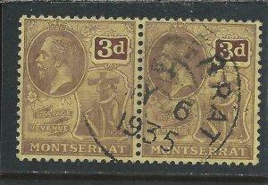MONTSERRAT 1916-22 3d PURPLE/YELLOW PAIR FU (LATE USE) SG 53 CAT £46
