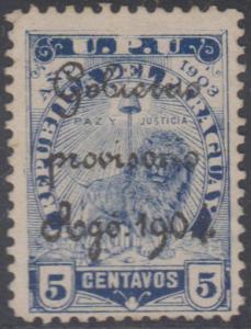 PARAGUAY 1904 REVOLUTIONARY Sc 86 OVPTD GOBIERNO PROVISORIO AGO 1904 UNSD RARE