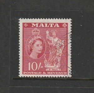 Malta 1956 Defs 10/- FU SG 281