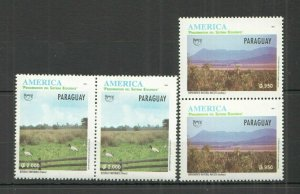 P1133 1995 PARAGUAY PRESERVATION ECOLOGICAL SYSTEM NATURE AMERICA UPAEP 2SET FIX