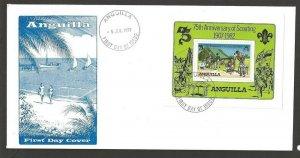 1982 Anguilla Scouts 75th anniversary sailing SS FDC