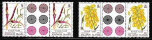Solomon Islands 1989 ORCHID Gutter Pairs Complete (4) Scott 631-634 XF/NH/(**)