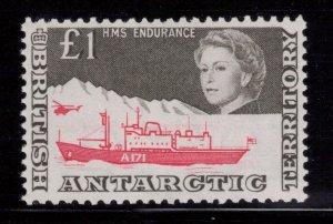 BRITISH ANTARCTIC 1969 £1 HMS Endurance; Scott 24, SG 15a; MNH