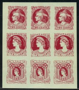 #73-E3f 2¢, 3¢, 5¢ 1861 ESSAY SHEET/9 RED ON GREEN LAID RARE SUPERB GEM WLM5767