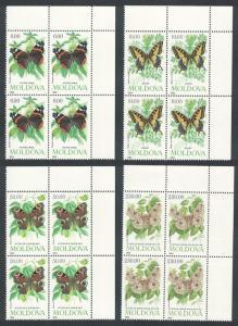 Moldova Butterflies and Moths 4v Top Right Corner Blocks of 4 SG#94-97 SC#94-97