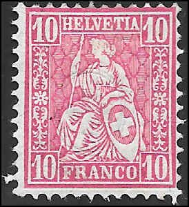 1881 SWITZERLAND  SC# 62 MINT H F SOUND CV $.00