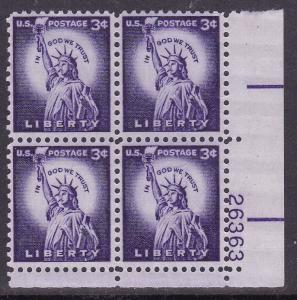 United States 1954 3c violet  Liberty Issue- Statue   Plate Nr. Block VF/NH