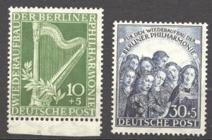 Berlin, 1950, Philharmonic Hall, MNH set of 2, no faults, superb