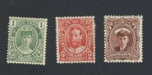 3x Newfoundland Royal MH Stamps #104-1c F/VF #105-2c VF #106-3c VF GV = $58.50