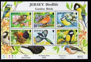 Jersey Sc 1264a 2007 Garden Birds stamp sheet mint NH