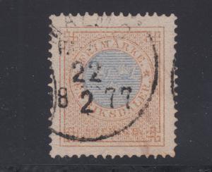 Sweden Sc 27 used. 1872 1rd bister &  blue Numeral, Perf 14, 1877 cancel