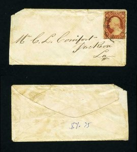 # 25 on cover from New York, NY to Jackson, Louisiana - 1850's