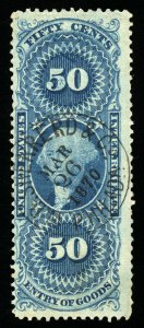 B162 U.S. Revenue Scott R55c 50-cent Entry of Goods 1870 circular handstamp cxl
