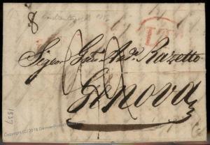 Turkey 1827 Genova Italy Disinfected Cholera Pest Cover Constantinople 91914