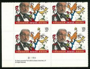 3835 Die Cut Shift Captured Pl# Block Error Dr. Seuss W/ 37c Missing Mint NH