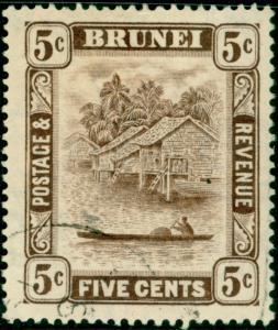 BRUNEI SG68, 5c chocolate, FINE USED. CDS.