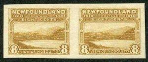 NEWFOUNDLAND SG112var 1911 Guy 8c yellow-brown recess printing IMPERF Pair M/M