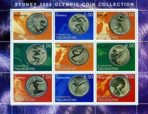 Tajikistan 2000 Sydney OLYMPIC COIN Sheet Perforated Mint (NH)