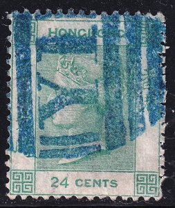 UK CHINA HONG KONG STAMP 1865 Queen Victoria 24C USED crease