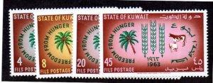 KUWAIT 193-196 MNH SCV $3.75 BIN $2.25 FREEDOM FROM HUNGER