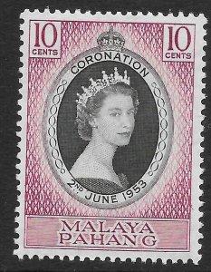 MALAYA PAHANG SG74 1953 CORONATION MTD MINT