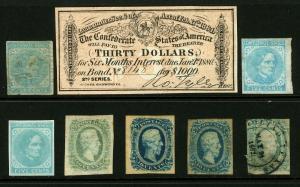 CSA #6, #7 & #11 1862-63 Civil War Issues Mint Unused and Used