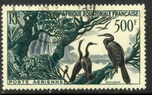 FRENCH EQUATORIAL AFRICA 1953 500fr ANHINGAS BIRDS Airmail Scott No. C37 VFU