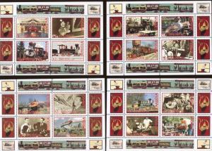 Walt Disney's RAILROAD STORY Mini Sheet Set x4 MNH ( Unauthorized ) Angola E1