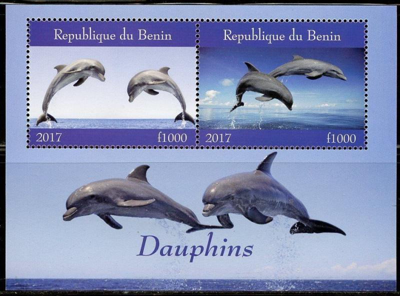 BENIN 2017  DOLPHINS SHEET OF TWO MINT NH
