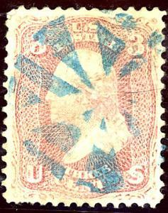 U.S. #64 Used Blue Fancy Cancel