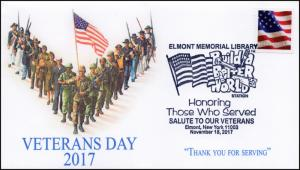 7-366, 2017, Veterans Day, Elmont NY Memorial Library, Pictorial, Event Cover,