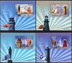 {027} Sao Tome & Principe 2008 Lighthouses Shells 4 S/S Deluxe MNH**